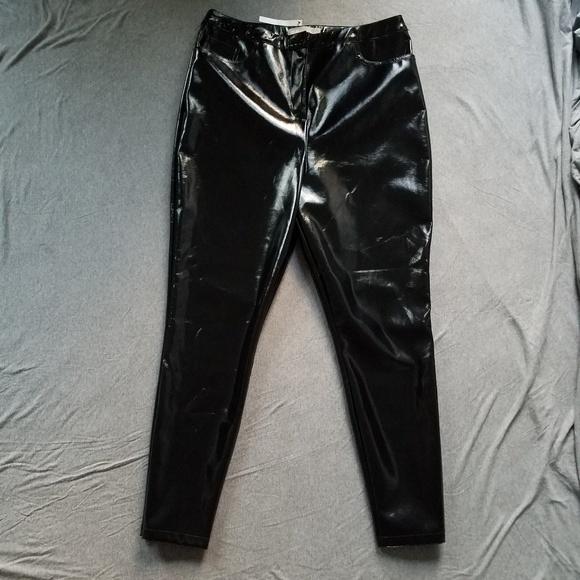 8d5d6b6e04425 ASOS Pants | High Waisted Shiny Black Faux Leather | Poshmark